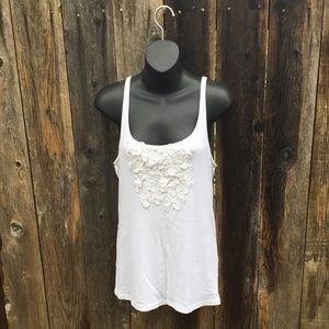 J crew white tank with floral detailing
